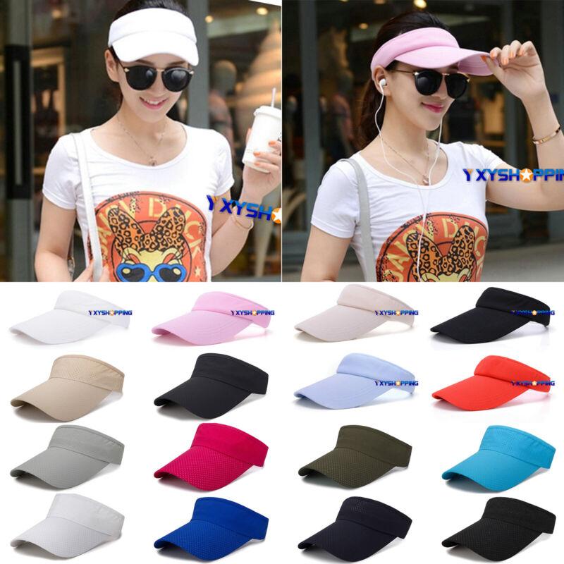 Men Women Summer Sun Visor Protector Caps Plain Adjustable f