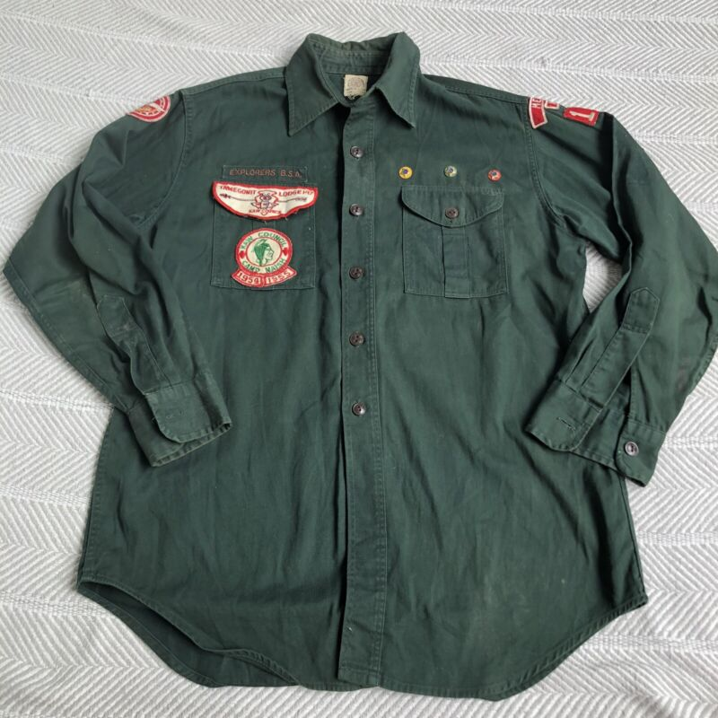 Boy Scouts of America Official Shirt Sanforized MERRIAM KANSAS 1954 1955 w/Patch