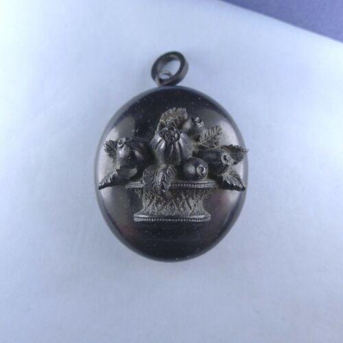 Victorian Gutta Percha Mourning Locket Pendant / Boat House Engraved Antique