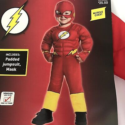 Cheap 2t Halloween Costumes (The Flash Toddler 2T 3T Superhero Boys Halloween Costume Padded Jumpsuit New)