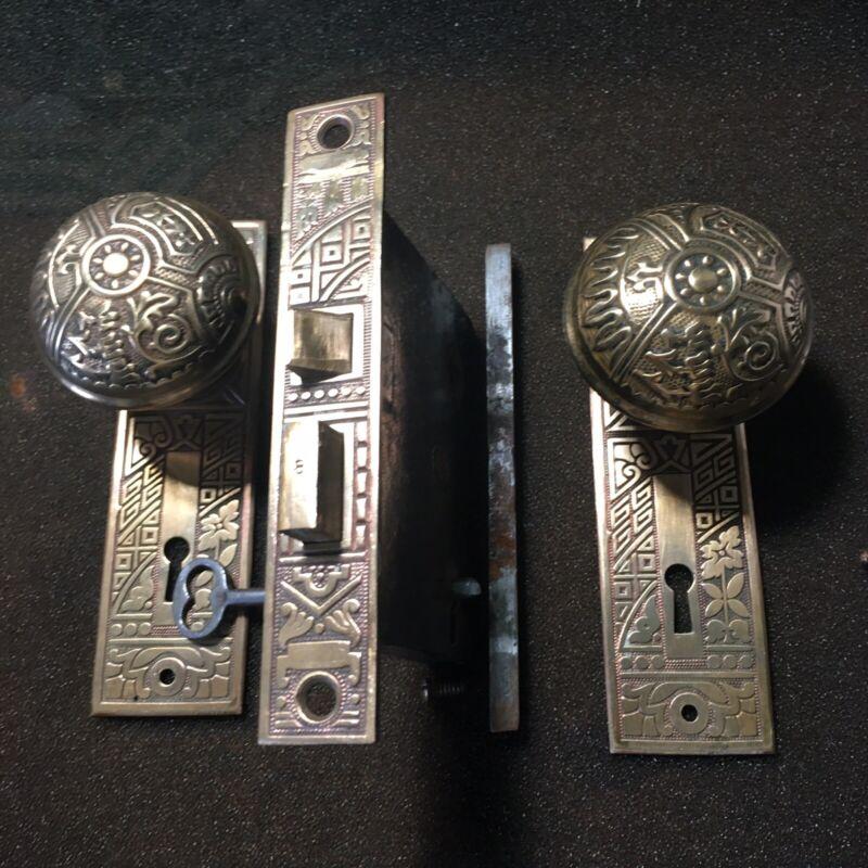 Antique Victorian  Brass Corbin Ceylon Eastlake Lockset & Skeleton Key #2