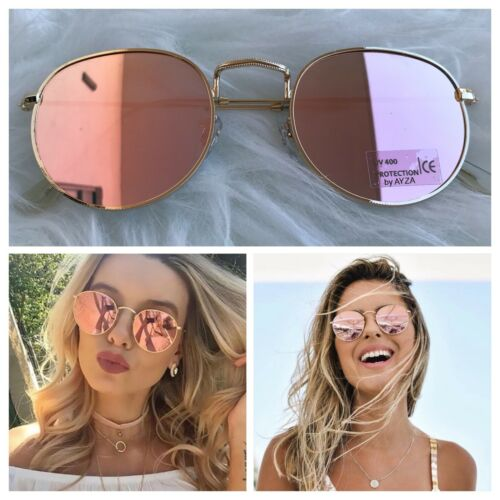 AYZA Sonnenbrille Round Rund Metal Damen So Hot Real Rosagold Verspiegelt