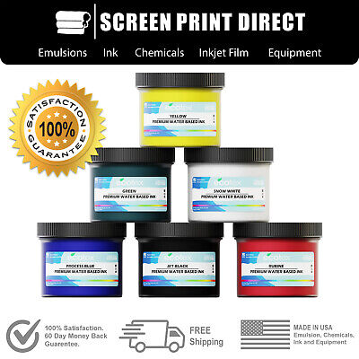 Ecotex Water Based Ink Kit For Screen Printing - 6 Primary Colors - 8oz