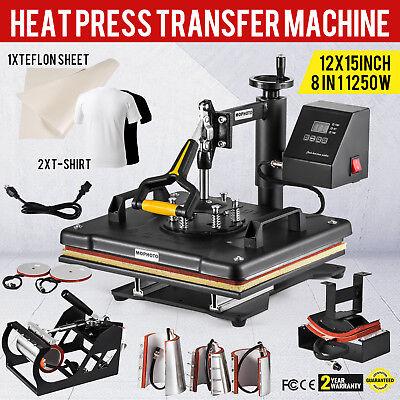 Usa 12 X15 8 In1 Heat Press Digital Sublimation Machine T-shirt Mug Hat Cap Diy