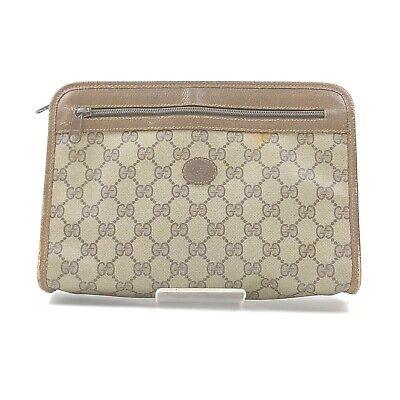 Vintage Gucci Clutch GG Browns PVC 840377