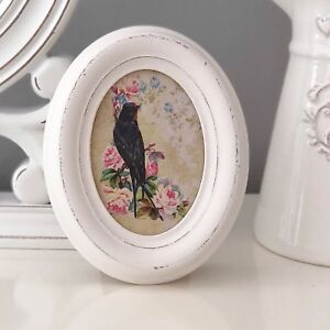 VINTAGE CREAM WOODEN STANDING OVAL PHOTO PICTURE FRAME SHABBY CHIC HOME DECOR