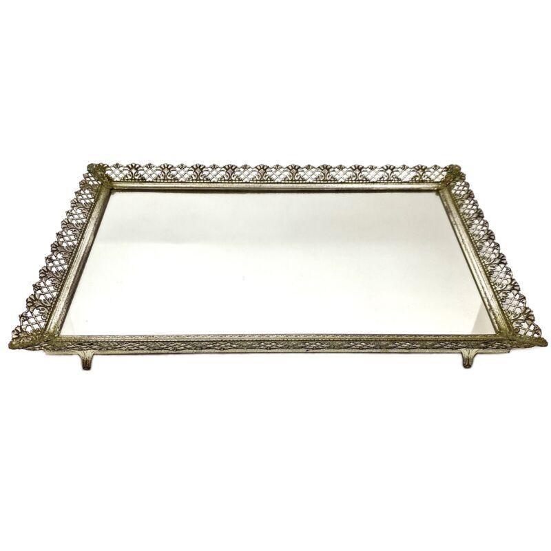 Vintage Silver Filigree Mirrored Vanity Tray
