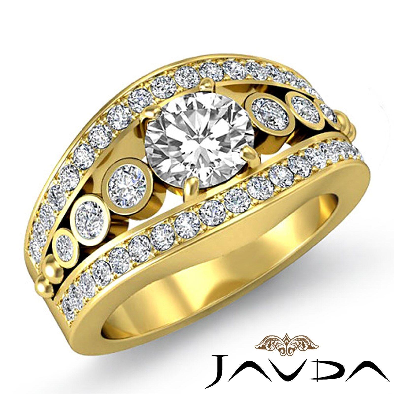 Micro Pave Bezel Setting Round Diamond Engagement Wedding Ring GIA F VS2 2.25Ct