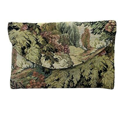 1940s Handbags and Purses History Vintage Tapestry Padded Clutch or Cosmetics Bag 9