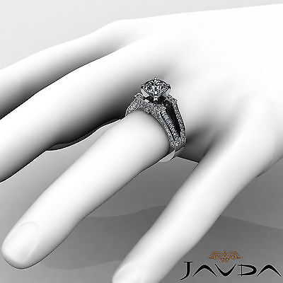Split Shank Bezel Pave Setting Round Diamond Engagement Ring GIA F VS2 1.71 Ct 3