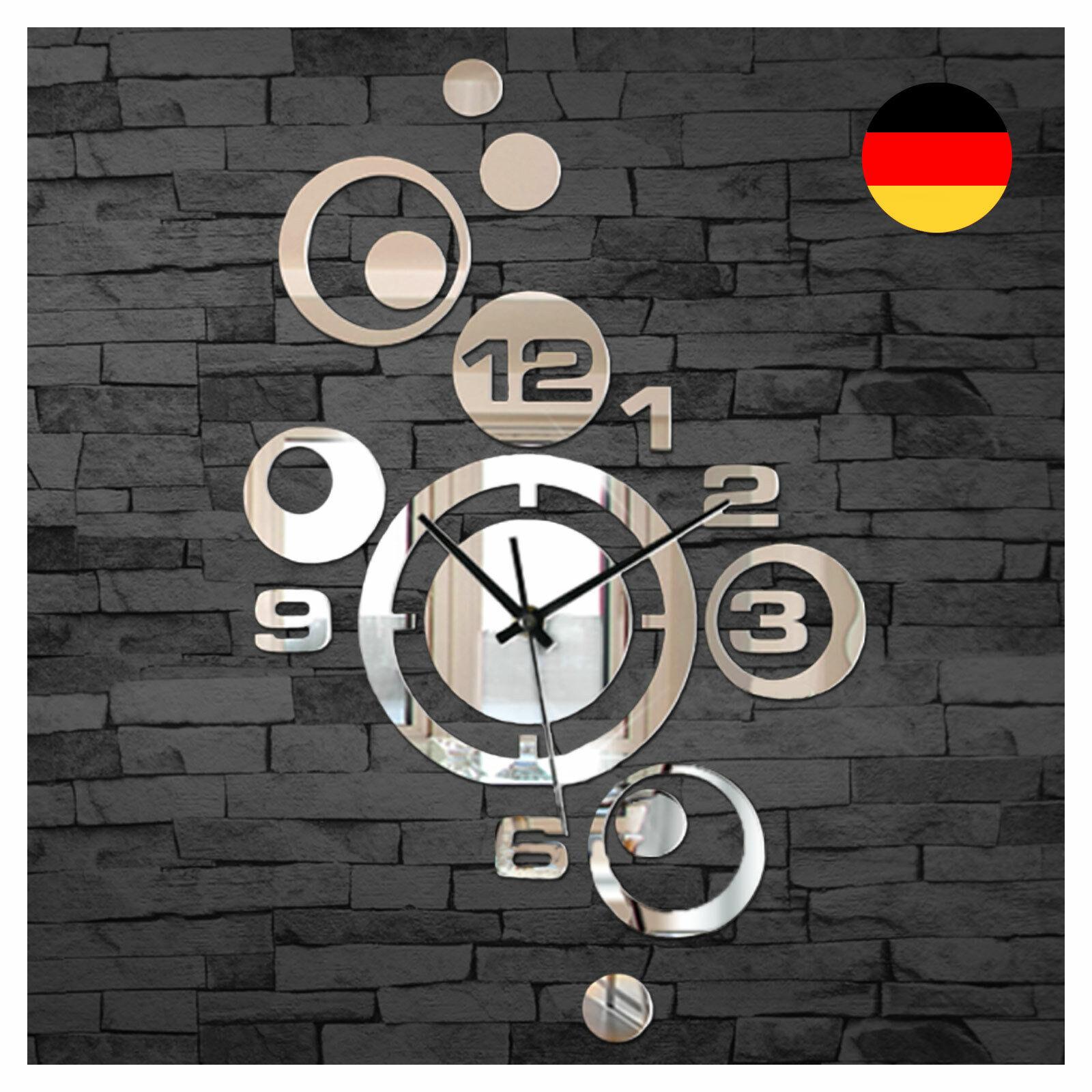Wohnzimmer Wanduhren moderne Design Spiegel Uhr Dekoration Wandaufkleber W842