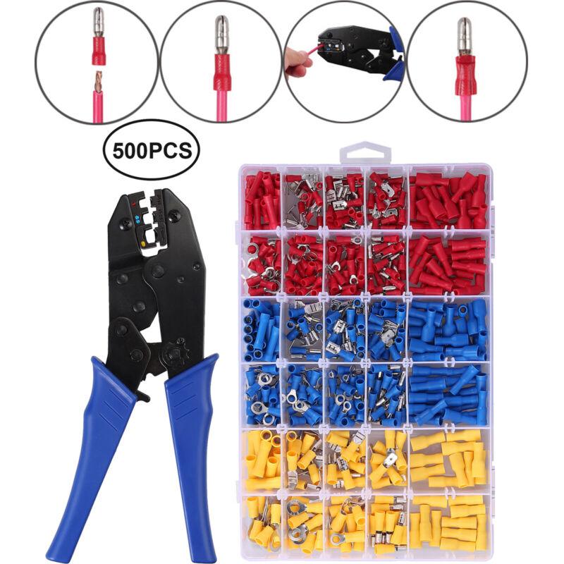 Crimping Tool Kit 0.5-6mm²Wire Pliers+500PCS Crimp Terminals Connectors 10-22AWG