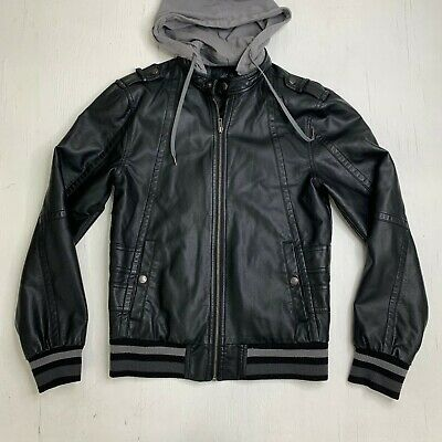G by Guess Faux Leather Jacket Mens XS Full Zip Satin Lined Detachable Hoodie