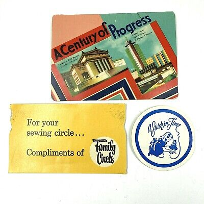 3 Vintage Advertising Sewing Needle Packs - A Century Of Progress Family Circle