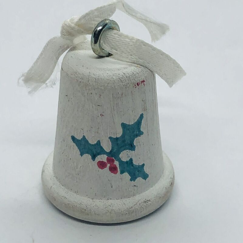 Vtg 1988 Vermont Hand Painted Wooden Christmas Ornament Thimble w/ Holly