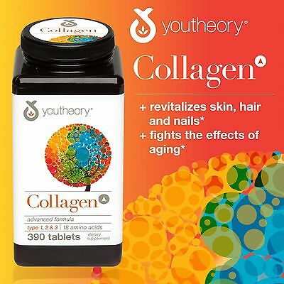 youtheory Collagen Advanced Formula 390 tablets Type 1,2,3 with 18 Amino Acids
