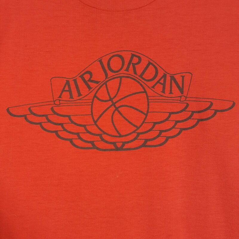 Vtg 80s Nike Air Jordan Wing Logo T-Shirt Red Basketball Blue Tag Single Stitch