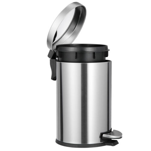 Stainless Steel Rectangular Soft Close Trash Can with Foot Petal  Narrow Space General Household Supplies