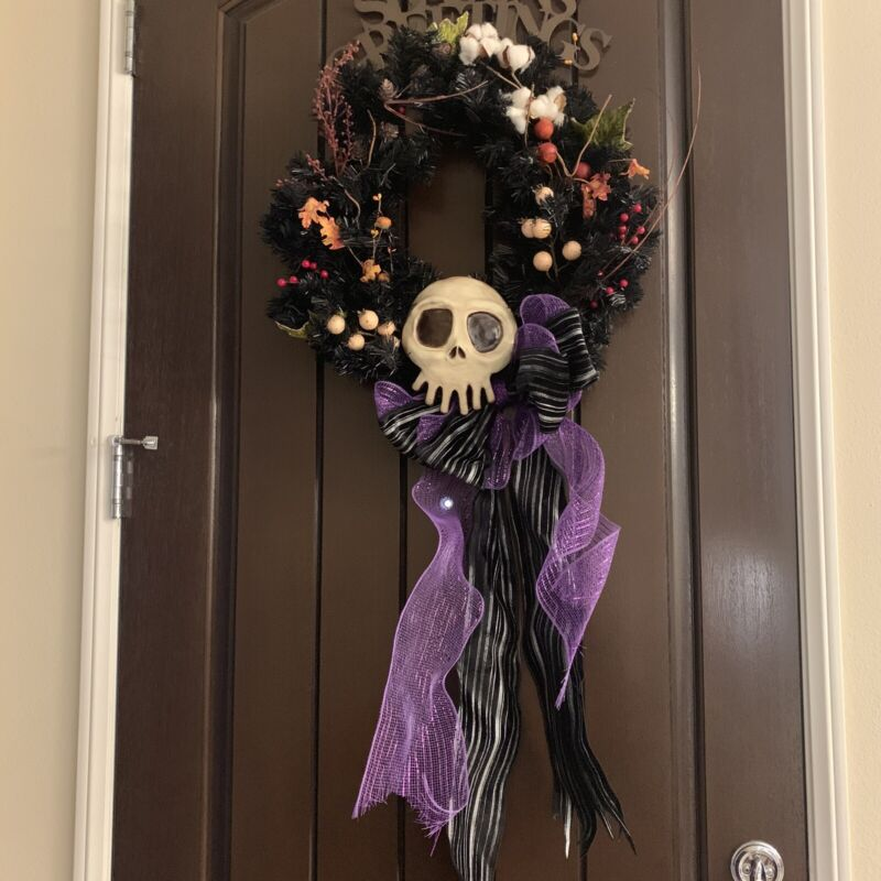 Haunted Mansion Style Wreath With Ceramic Skull