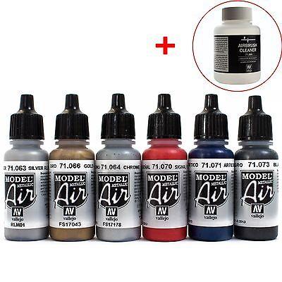 Vallejo Airbrush Farben Set 6x 17ml *Metallic + 85ml Cleaner Airbrushfarben