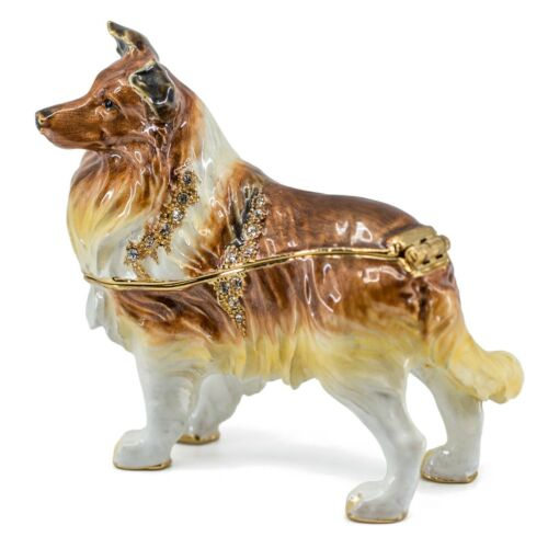 Bejeweled Enameled Pewter Sheltie Shetland Sheep Dog Trinket Box w/Crystals New!