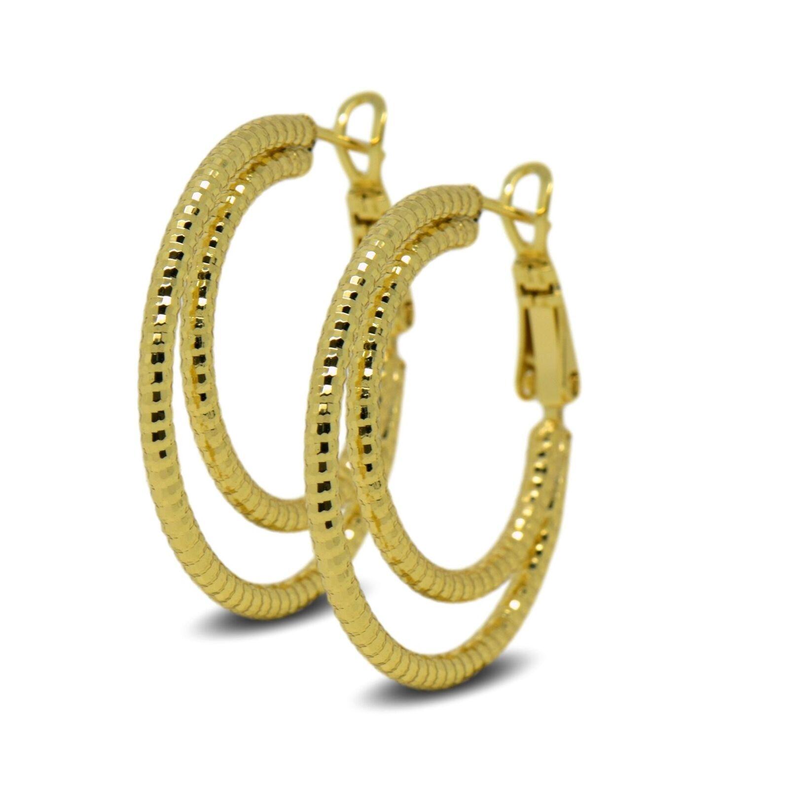 dd14f5ec04ac72 9ct Gold Filled Womens Double Spiral Hoop Earrings 9K 30mm