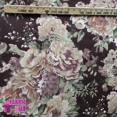 (Home Decor Watercolor Flowers Large Purple Heavy Upholstery Fabric by the Yard)