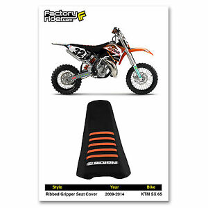 2009-2014 KTM SX 65 SEAT COVER Ribbed GRIPPER Black/Orange Ribs by Enjoy MFG