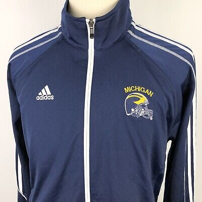 Michigan Mens Track Jacket - Adidas University Michigan Track Jacket XL Navy Blue White Full Zip Wolverines