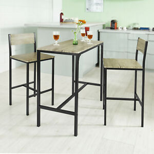 So Kitchen Dining Breakfast Bar Table And 2 High Chairs Stools Set Ogt03