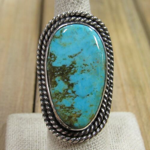 Large Vintage Sterling Silver Turquoise Ring Size 8.25