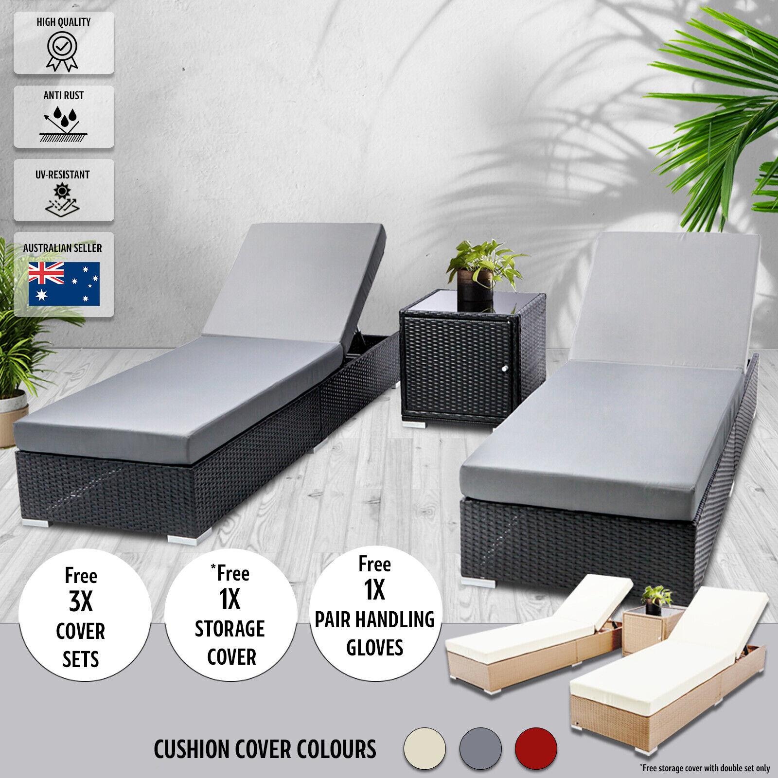 Garden Furniture - Outdoor Garden Furniture New Rattan Black Modern Aluminium Daybeds Pool Sun Beds