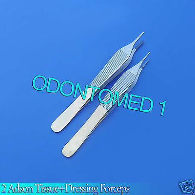2 Tc Adson Tissue 1x2tdressing Forceps 4.75 With Tungsten Carbide Inserts