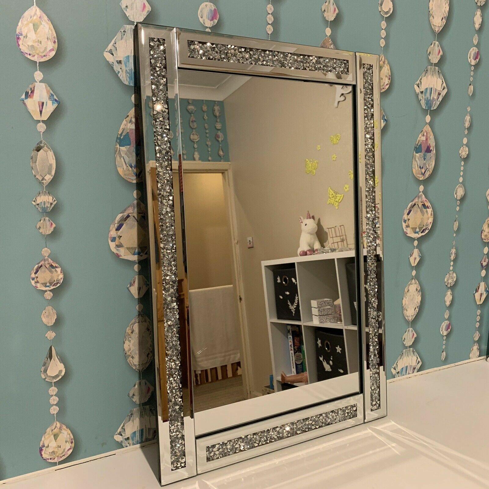 mirror - 40x60 Silver Diamante Wall Mirror Girls Bed Bath Room Bling Jewel Wall Mirror
