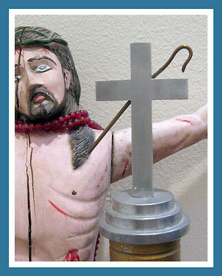 Rare Folk Art Metal Religious Church Scripture Altar Crucifix Cross Post Pillar