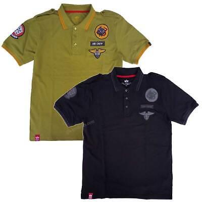 Alpha Industries Air Crew Polo Shirt 196602 100% cotton embroidered soft patches Alpha Cotton Polo Shirt