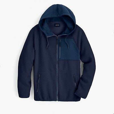 $148 NWT J.Crew Sherpa Zip-front Hooded Jacket Mens Hoodie M L NAVY K4296 (Sherpa Zip Front Hoodie)