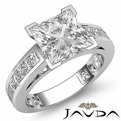 Cathedral Prong Channel Setting Princess Diamond Engagement Ring GIA I SI1 2.2Ct