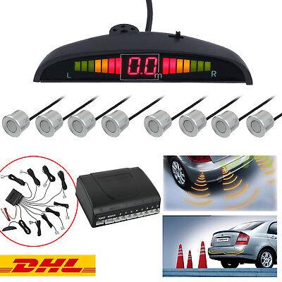 Parksensor Einparkhilfe Rückfahrwarner 8 Sensoren Vorne Hinten LCD Silber DE ()