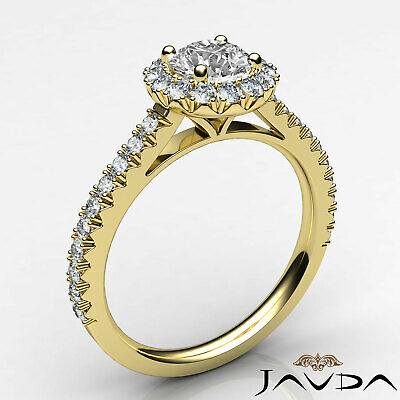 Halo French V Pave Women's Round Diamond Engagement Ring GIA E Color VVS2 1.71Ct 6