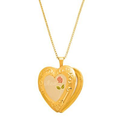 Mom' Heart Locket Pendant in 14K Gold-Plated Sterling Silver