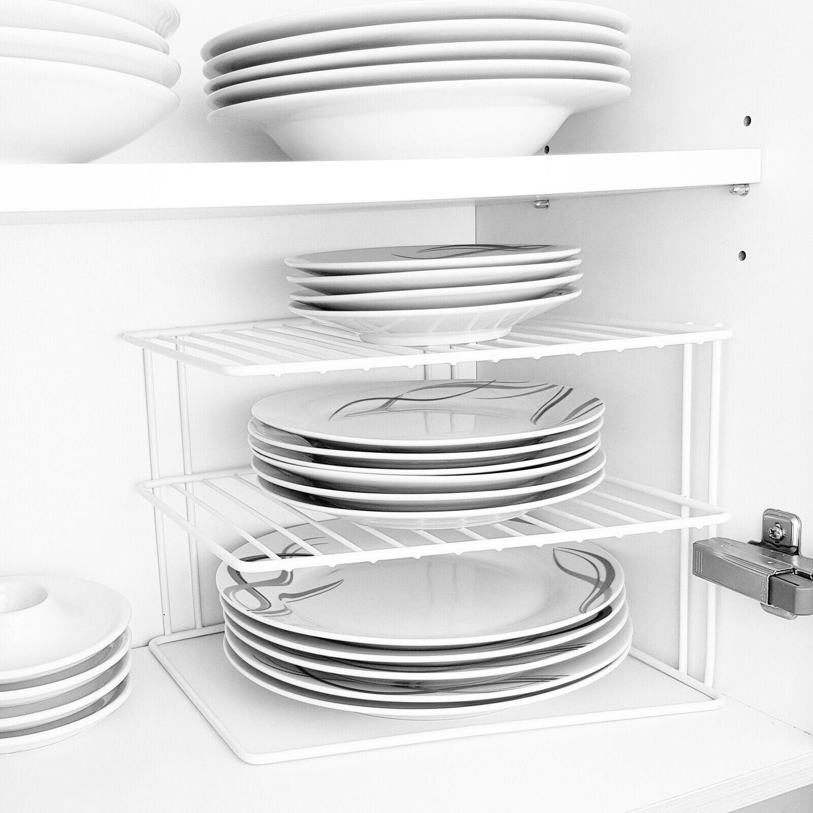 Schrankeinsatz mit 2 Etagen Tellerregal Tellerhalter Teller Regal Küchenregal
