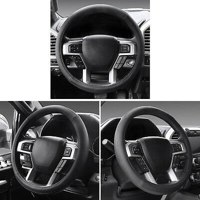 2pcs Black Soft Thin Leather Car Steering Wheel Cover+Needle Thread Best (Best Car Steering Wheel Cover)