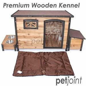 Big Dog Timber House Wooden Kennel Extra Large Pet 2 Bowls Wood Campbellfield Hume Area Preview