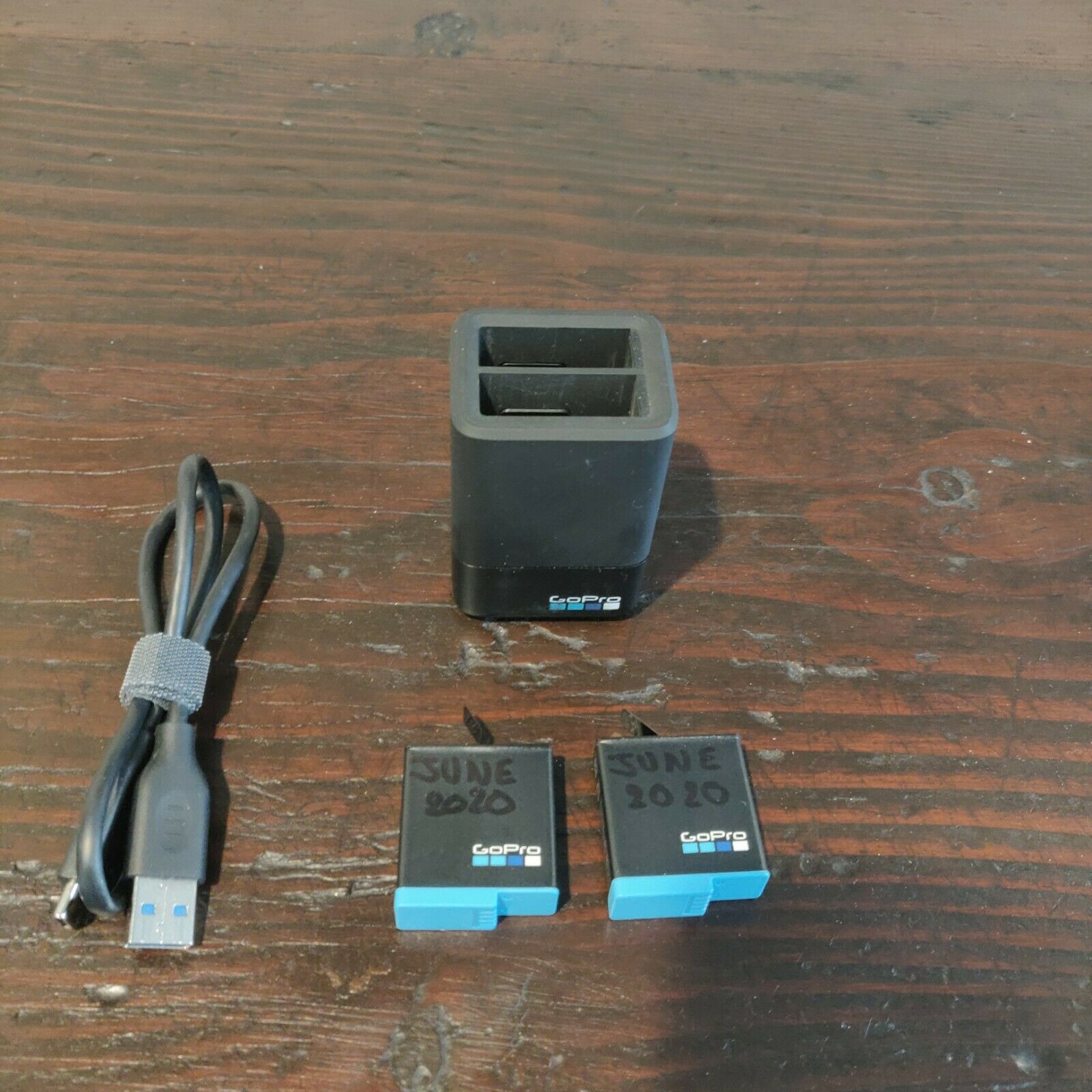 Two GoPro Li-Ion Rechargeable Battery 1220 MAh Never Used Dual Charger Block  - $20.00
