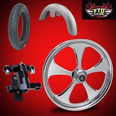Harley 30 inch Front End Big Wheel kit, Wheel, Tire, Neck, Fender,  5 Blade