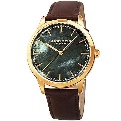 Men's Akribos XXIV AK937BRGN Genuine Green Marble Stone Leather Strap Watch