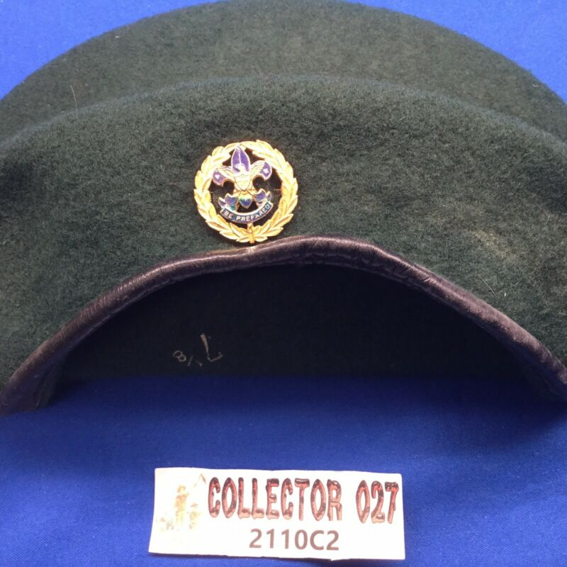 Boy Scout Green Beret All Wool Bukta With Scout Commissioner Pin Size 7 1/8