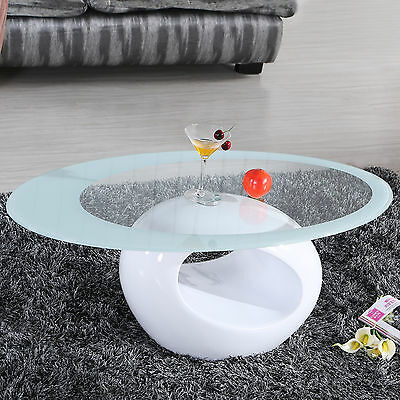 Glass Oviform Coffee Table Contemporary Modern Design Living Room Furniture White