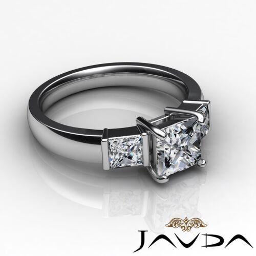1.6ct Round Diamond Engagement 3 Stone Bar Set Ring GIA F VVS2 14k White Gold 2